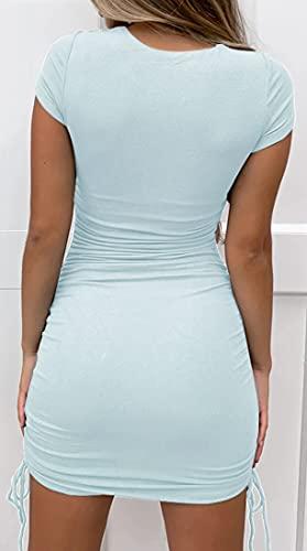 WINKEEY Vestido Ajustado de Manga Corta con Pliegues y Cordón Lateral Mini Vestido de Verano para Mujer, Azul Claro M