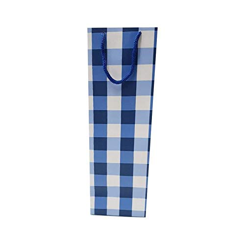 "Artemisia-Design Studio by Dewangi Jhaveri Paper Blue Checks Wine Bottle Bag Size -14""4.75""3.75 - Pack of 10"