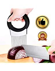 The Best Onion Holder for Slicing All-In-One | Potato holder | Odor Remover | Vegetable Slicer | Onion Chopper Stainless Steel