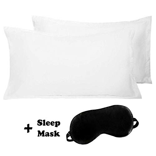 Queen Pillow Cases Set of 2 – With 1 Eye Mask gift box – Soft, Premium Quality Hypoallergenic White 100% Cotton Pillowcase Covers – Queen Pillowcase Size 20X30 – Wrinkle, Fade & Stain Resistant