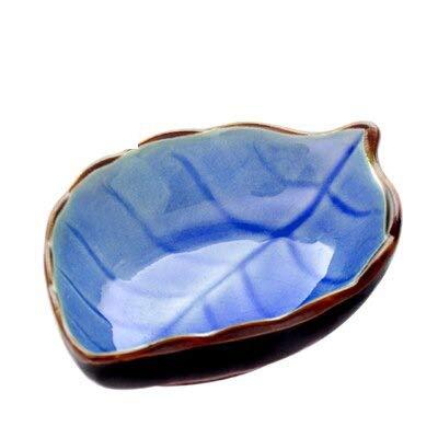 Tableware Japanese Ceramic Wooden Ceramic Kitchen Multi-Purpose Japanese-Style Creative Seasoning Dish Ceramic Small Leaf Dish Pickles Dish Sauce Vinegar Snacks Tableware Plates (C.leaves blue)