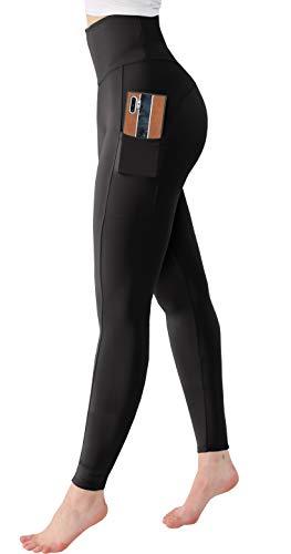Trilece Leggings para mujer, cintura alta, control de abdomen, pantalones de yoga con bolsillos - negro - Medium