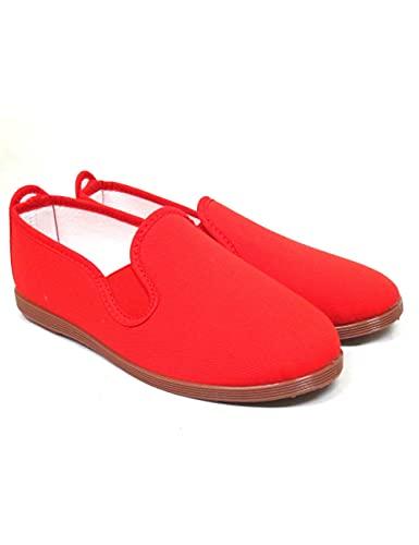Zapatillas Kung-fu de loneta Unisex sin Cordones para Verano Roal 295 Rojo - Color - Rojo, Talla - 36