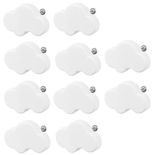 Möbelknopf Kinderzimmer, 10 Stück Möbelknöpfe Schubladengriffe Möbelgriff Schubladenknöpfe Möbelknäufe Kinderzimmer Klein Wolkenform für Schränke, Schubladen (White)