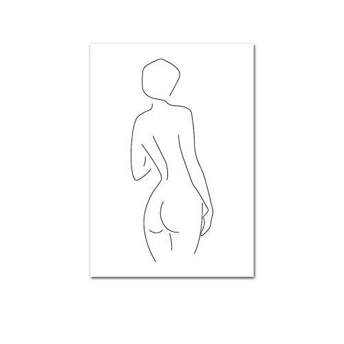 WENYOG Cuadro En Lienzo Línea Dibujo Sexy Mujer Cuerpo Abstracto Arte Cartel Pared Lienzo Lienzo Negro Blanco Minimalista Pintura Decorativa decoración del hogar
