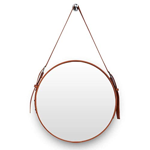 ZHTY Espejo de baño Espejo Redondo de Pared - Correa Colgante de Cuero Ajustable Espejos de vanidad montados en la Pared/Espejo de Afeitar/Espejo de Maquillaje para Ducha