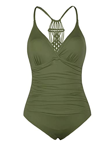 Hilor Women's Shirred Halter One Piece Swimsuits Macrame Back Swimwear Solid Bathing Suit Olive Me 8