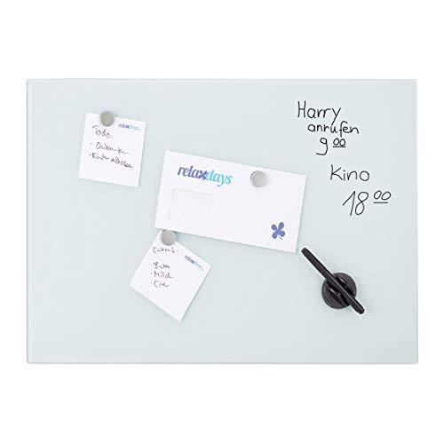 Relaxdays, weiß Glas-Magnetboard 80 x 50 cm, beschreibbar, Memboard, 3 Magneten, Sicherheitsglas, Magnettafel