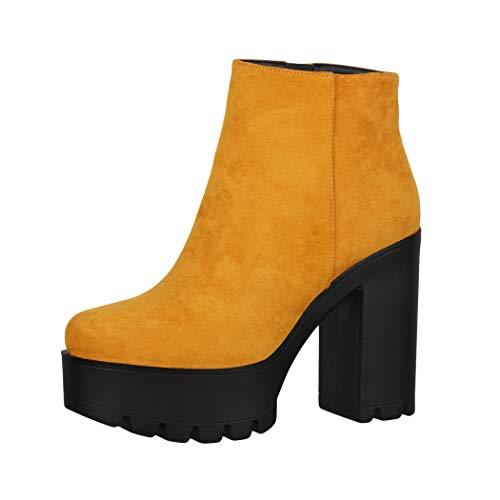 Elara Damen Stiefeletten Chelsea Boots Chunkyrayan HQ115 Yellow-38