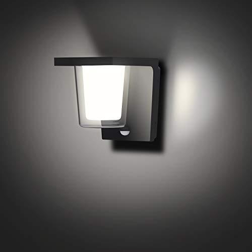 FLORNIA Utomhusbelysning utomhus LED-vägglampa med rörelsesensor utomhus väggbelysning huvuddriven PIR extern trädgård väderbeständig aluminiumlampa (900 LM 13,5 W 4000 K IP44)