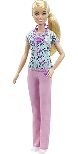 Barbie quiero ser enfermera muñeca rubia con accesorios para niñas + 3 años (Mattel GTW39)