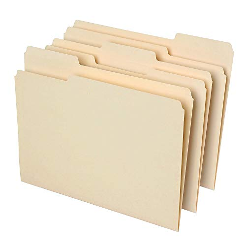 Office Depot File Folders, 1/3 Cut, Letter Size, 30% Recycled, Manila, Pack Of 100, 810838