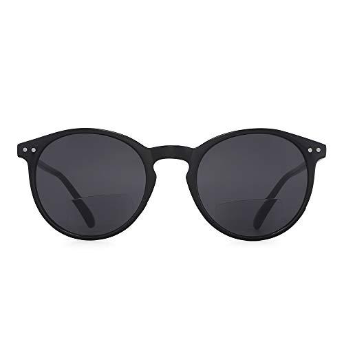 occhiali da sole bifocali JM Occhiali da Lettura Sole Bifocali Stile Rotondo Retrò per Donna Uomo Montatura Nera Lenti Grigie +1.75