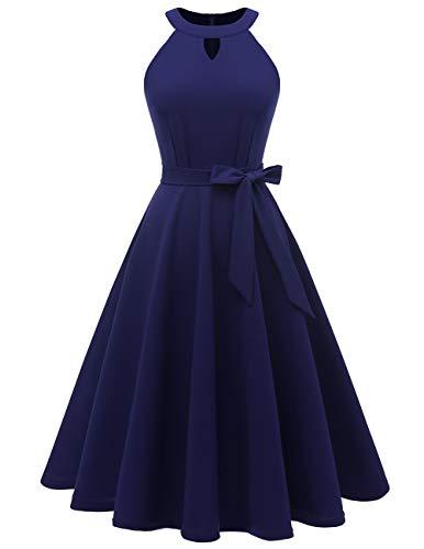 DRESSTELLS Midi Sommer 1950er Vintage Neckholder Rockabilly Kleid Petticoat Cocktailkleid Navy 2XL