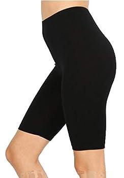 Women Cotton High Waist Active Bermuda Bike Short Leggings 10  Length  Black X-Large
