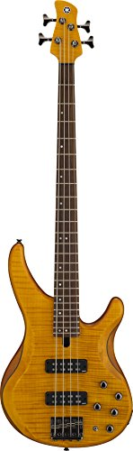 Yamaha TRBX604 4-String Flamed Maple Bass Guitar, Matte Amber
