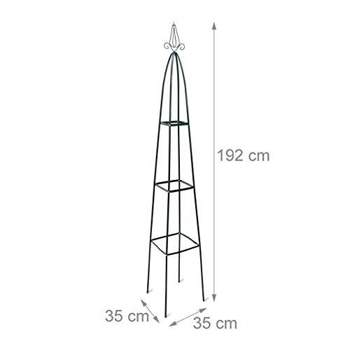 2x Rankturm, Garten Obelisk, freistehende Rankhilfe für Kletterpflanzen, Ranksäule, Metall, HBT 192 x 35 x 35 cm, grün - 2