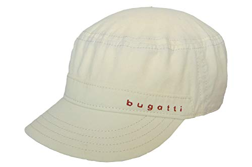 Bugatti Organic Cotton Army Cap Baumwollcap Armycap Military Sommercap Sonnencap Hellbeige Mit Schirm (Gr. 57/M, 3 - Hellbeige)