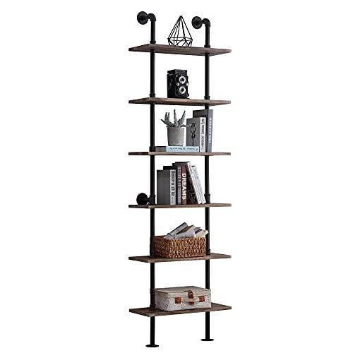 Hombazaar Industrial Bookshelf 6-Tier Modern Ladder Shelf, Vintage Metal Pipes and Wood Shelves,...