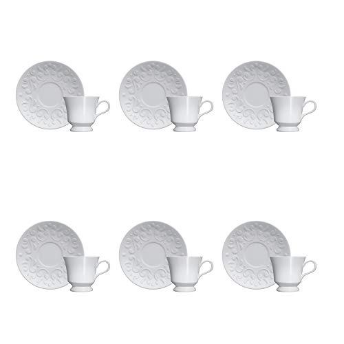 Kit 6 Xicaras e Pires Café - Tassel Germer Branco