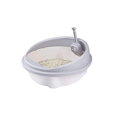 HaavPoois Semi Closed Litter Box with Litter Scoop for Pet Cat, Anti-splash Portable Cat Litter Tray Plastic Large Deodorant Sandpit Pet Cat Self Cleaning Pet Toilet Accessories