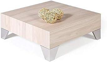 Mobili Fiver, Evo 60 Tavolino da Salotto, Olmo, 60x60x24 cm, Nobilitato/Acciaio Inox Satinato, Made in Italy,...