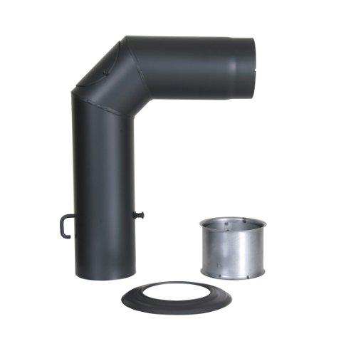 Kamino Flam Winkelrohr-Set mattschwarz, Rauchrohr geprüft nach Norm EN 1856-2, Senotherm® hitzebeständig lackiert, Knierohr inklusive Drosselklappe für Regulierung des Kaminzuges, Durchmesser ca. 15 cm