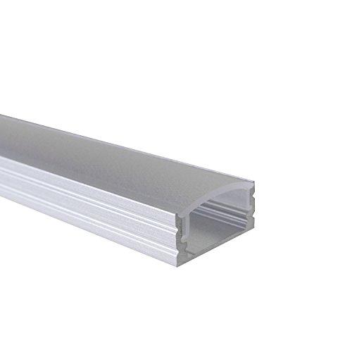 SEMI - 200 cm LED Aluminium Profil AUFPUTZ-KL + 200 cm diffuse halbtransparente Abdeckung für LED-Streifen 2m Alu Profile Leisten von Alumino®