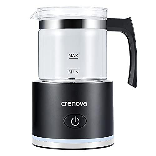 Crenova Milchaufschäumer, Milchaufschäumer elektrisch & Steamer mit 4 Modi, automatischer Heiß- & Kaltschaumbereiter für Cappuccino, Latte, heiße Schokolade, Matcha, Frappe (250ml)