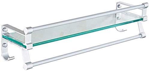 LAMZH Estantes de baño, estantes de Vidrio de baño, Cesta de Almacenamiento Organizador de Cesta con Estante de Toalla de Aluminio,Montado en la Pared