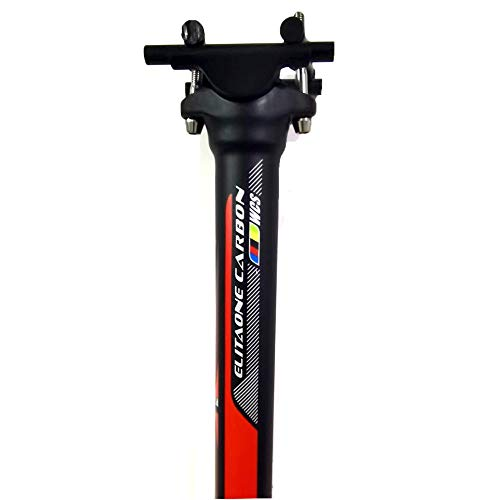 QIKU Tija de sillín Completa de Fibra de Carbono Ultraligera con Retroceso 0 ° UD Longitud Negra 350 / 400mm (31.6 * 350mm)