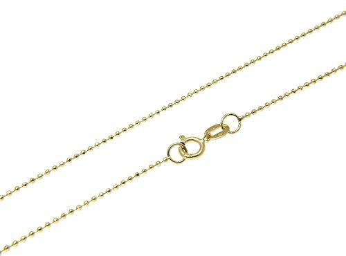 Collar cadena pulsera tobillera Tipo Bola corte de diamante de fina plata de ley 925 bañada en oro 14kt 1mm Bisutería Italiano Mujer Hombre - 15 20 25 30 35 40 45 50 55 60 65 70 75 80 85 90 95 100cm