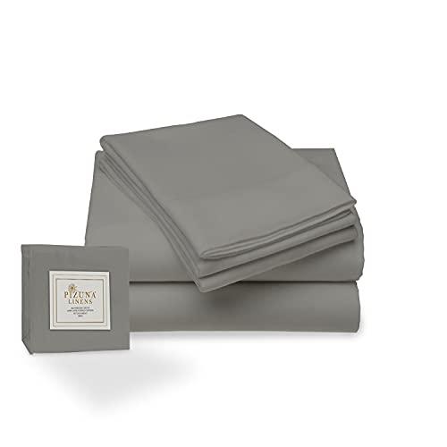 Pizuna 400 Hilos Juego de sábanas Chaparrón de 150 x 200, 3 Piezas, 100% algodón de Fibra Larga y satén, Transpirable, el Juego Incluye: 1 sábana Plana + 1 sábana Ajustable + 2 Fundas de Almohada