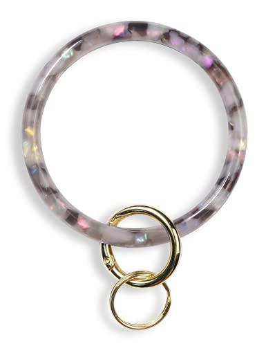Heesch Bangle Key Ring Bracelet Keychain Key Ring Bracelet for Women, Acetate Circle Keyring for Wrist (Grey)