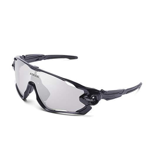 Atelcic Gafas de Sol Deportivas para Ciclismo, Polarizada y Montura De TR-90, Antivaho para Hombre Mujer MTB Enduro Bicicleta Montaña o Carretera (Negra (Lente Oscura polarizada))