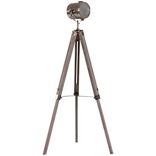 HOMCOM Vintage Tripod Floor Lamp Retro Industrial Photography Light Spotlight Antique Searchlight Wooden Base