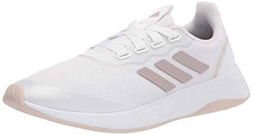 adidas Tênis de corrida feminino Qt Racer esportivo, Branco/champanhe metálico/halo marfim, 6