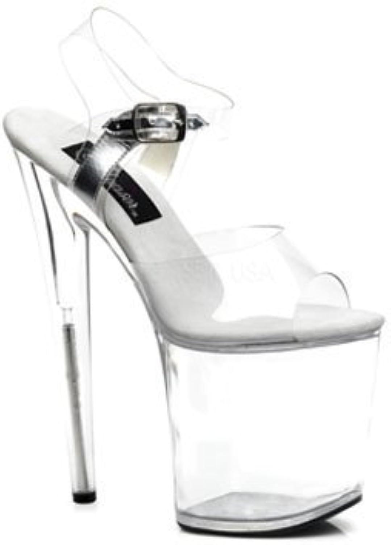 Clear 8 Inch High Heel Platform Sandal - 9