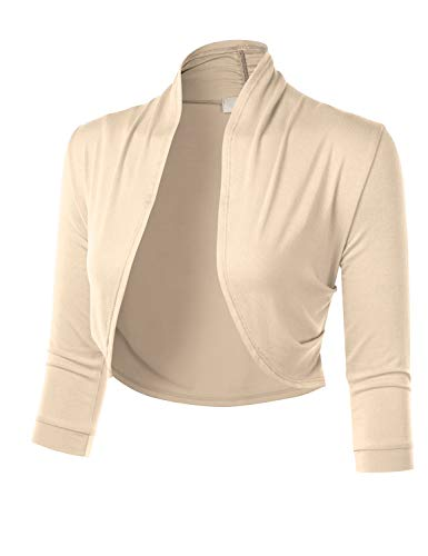FLORIA Women's 3/4 Sleeve Open Front Cropped Bolero Shrug Cardigan with Side Pleats Taupe M