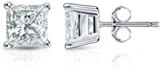 1/4-5/8 Carat Natural Princess Cut Solitaire Diamond Stud Earrings for Women - 14K White Gold 4 Prong with Push Backs (G-H Color, SI2-I1 Clarity)