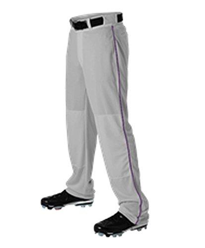 Alleson Adult Baseball Pant with Braid Grey, Purple S 605WLB 605WLB-GRPU-S