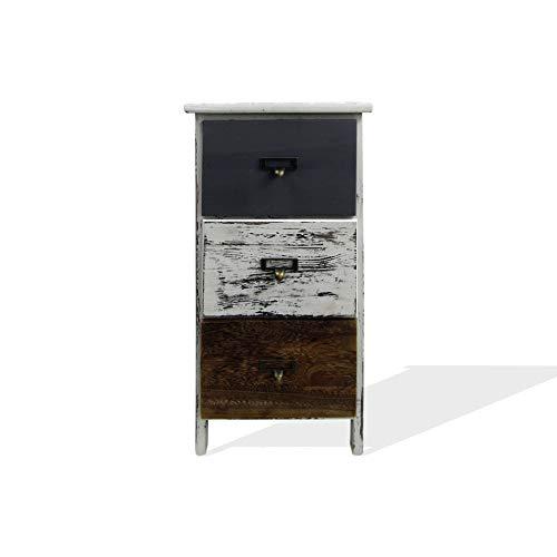 Rebecca Mobili Comodino Cassettiera 3 Cassetti, Legno, Stile Vintage, Bianco Grigio Marrone, per Camera Ingresso - Misure: 58 x 28 x 28 cm (HxLxP) - Art. RE6496