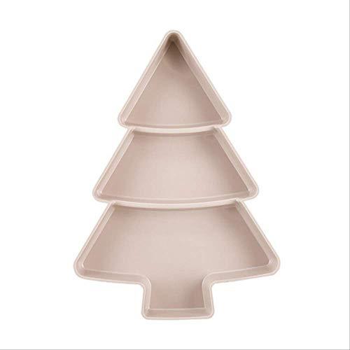 Creativo Forma de árbol de Navidad Semillas Nuez y frutos secos Plato Plato Plato Vajilla Bandeja de desayuno Suministros de cocina Rosa