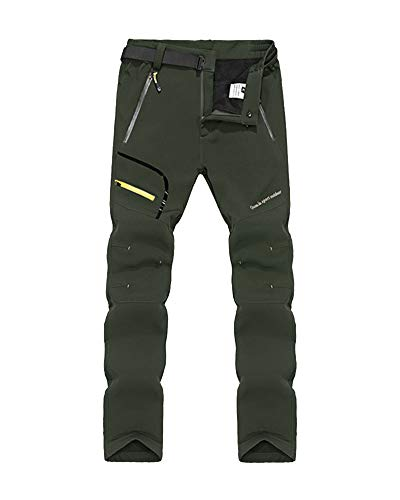 Mengmiao Herren Winddicht Softshell Trekkinghose Schnell Trocknende Hose Outdoorhose Mit Gürtel Grün2 L
