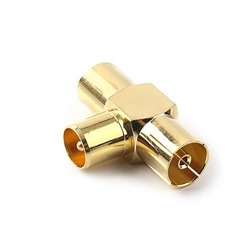 NANYI Attacco coassiale per antenna TV maschio-femmina a due, presa per connettore tipo T / F per adattatore antenna coassiale RF placcato oro - 1 confezione