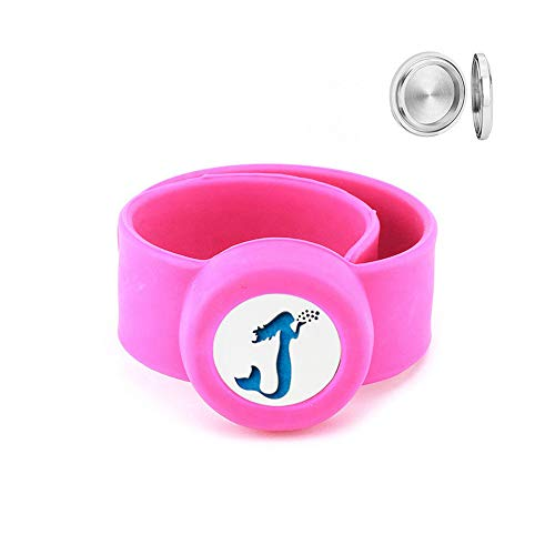 Aromatherapy Slap Bracelet for Kids – Essential Oil Diffuser Bracelet Releases Calming Scents to Ease Anxiety and Enhance Focus – Includes 10 Reusable Felt Pads (Mermaid) (Hot Pink)
