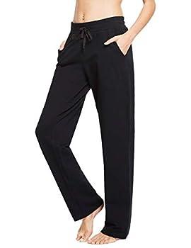 BALEAF Women s Cotton Casual Yoga Sweatpants Straight Open Bottom Leg Lounge Walking Wide Pajamas Running Pocketed Black XL