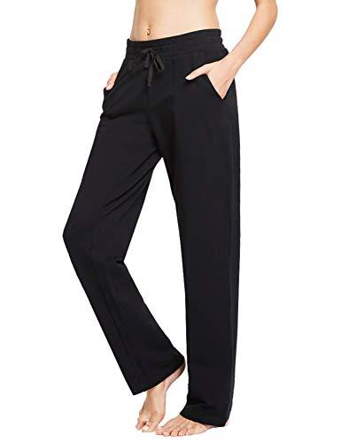 BALEAF Damen Baumwolle Freizeit Kordelzug Yoga Sweatpants Brushed Liner Bein Lounge Walking Pants Taschen, Schwarz, Mittel