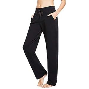Women's Cotton Casual Drawstring Yoga Sweatpants Straight-Leg Lounge ...