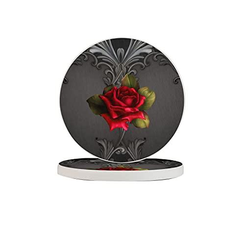 Diatomite Cup Coaster absorbente de agua elegante set de bebidas jaboneras cojín cepillo de dientes almohadilla dos piezas glamour gótico rojo rosa negro ornamental Glam